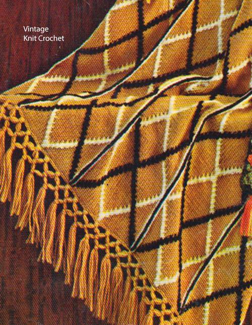 Masculine Crochet Afghan Pattern, bi-color plaid