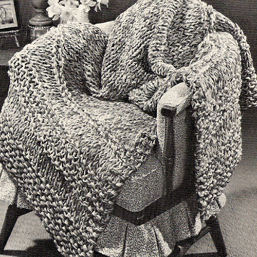 Free Big Needle Striped Knitted Afghan Pattern