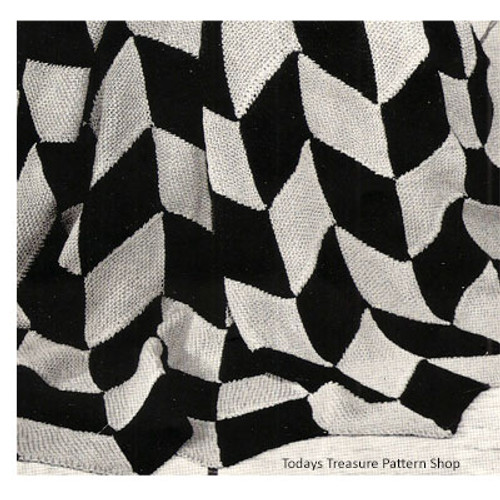 Knitting pattern Geometric Flags Afghan in two colors