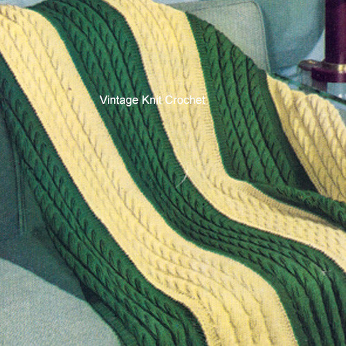 Striped Cable Afghan Knitting Pattern in Yellow Green