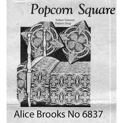 Alice Brooks 6837, Crochet Popcorn Square Pattern