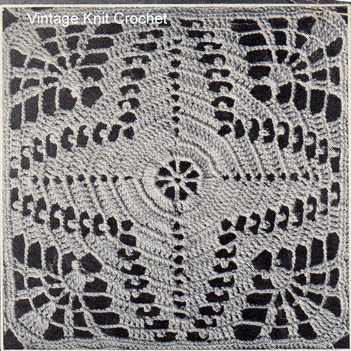Filet Lacet Stitch Square Pattern for Bedspread