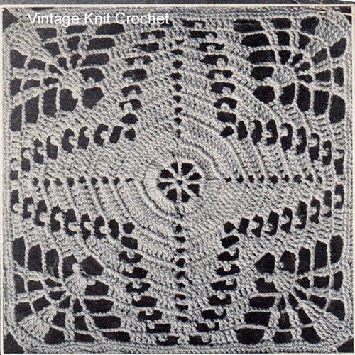 Vintage Crochet Bedspread Square Pattern