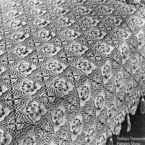 Vintage Flower Block Crochet Bedspread Pattern
