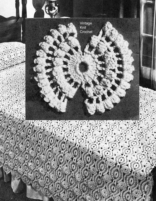 Vintage 1940s Crochet Bedspread Medallion Pattern