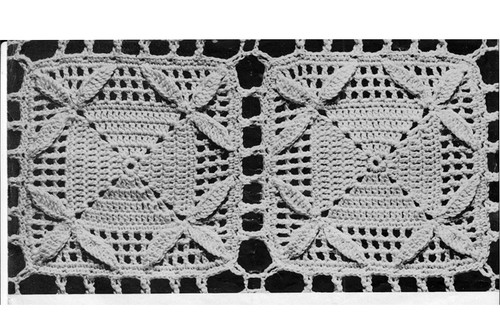 Crocheted Guipure Lace Square Medallion Pattern