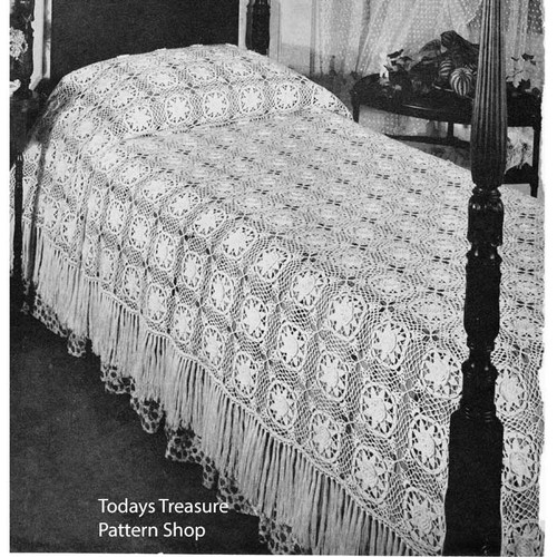 Vintage Louisiana Bayou Crocheted Bedspread Pattern from Ameerican Thread