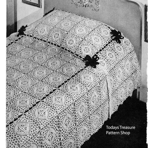 Vintage Hot Springs Block Bedspread Crochet Pattern