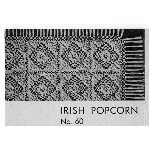 Irish Crocheted Popcorn, Vintage Bedspread Pattern
