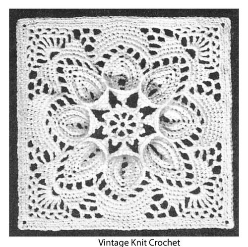 Vintage Crochet Square Pattern, Puritan
