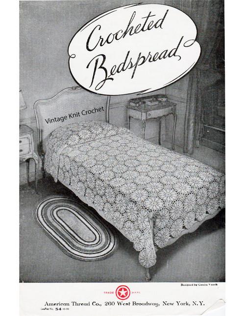 Crocheted Bedspread Pattern No 206, Leaflet 54-10-36