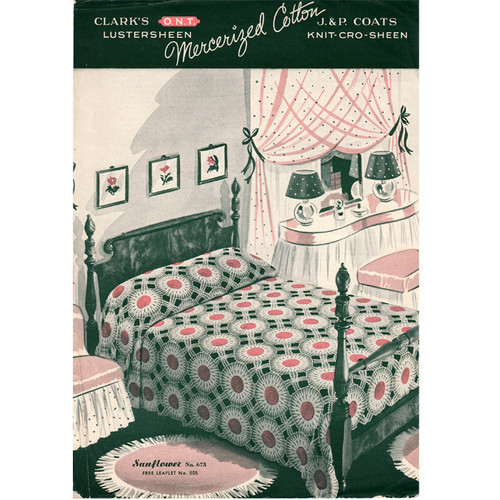 Vintage Sunflower Crocheted Bedspread Pattern