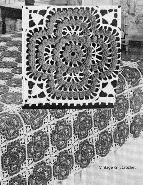 Crochet Rosette Bedspread Square Pattern