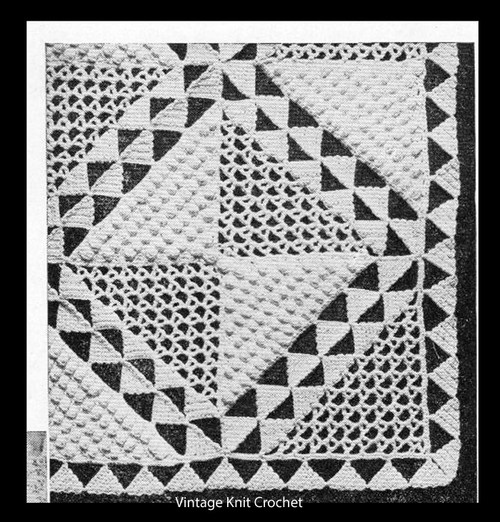 Triangles on Parade Crocheted Square for Bedspread