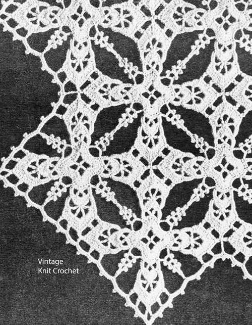 Vintage Iris Crocheted Block Pattern, bedspread