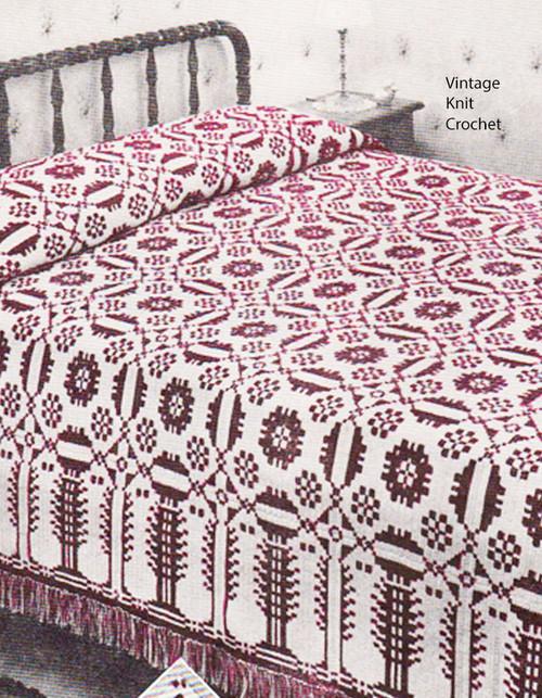 Filet Puritan Maiden Crochet Bedspread Pattern
