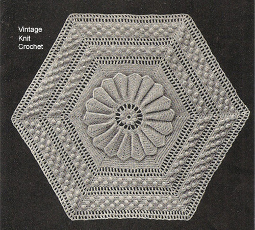 Crocheted Hexagon Block Pattern, Vintage 1940s