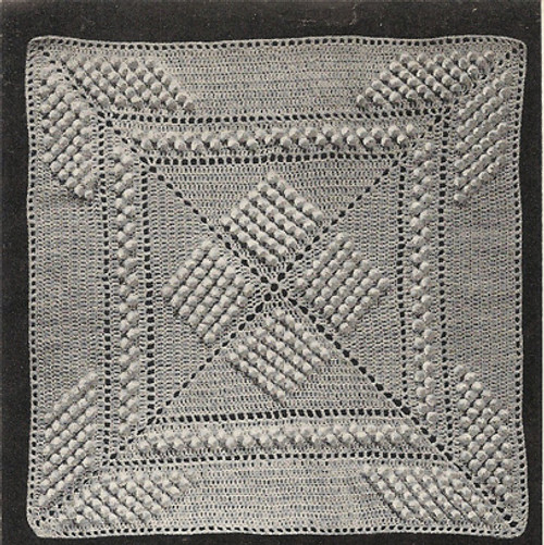 Crocheted Popcorn Square Pattern for Bedspreads