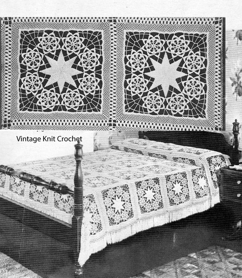 Crochet Star Wreath Bedspread Square Pattern No 809