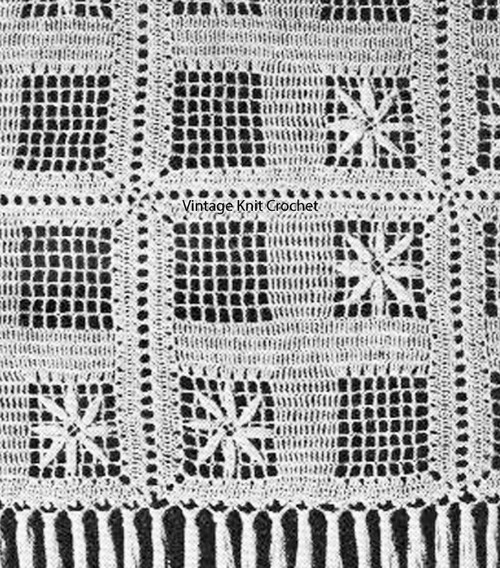 Crocheted Flower Motif Bedspread Pattern No 808