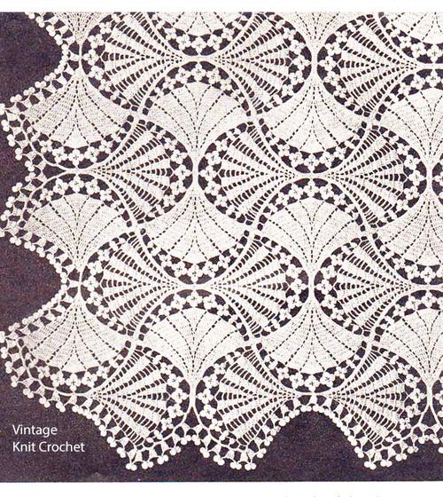 Vintage Crochet Fan Flowers Bedspread Pattern No 805