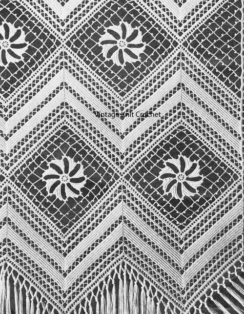 Crochet Blocks Bands Bedspread Pattern no 800
