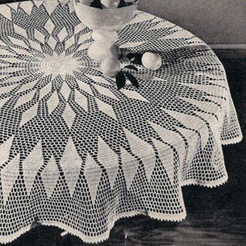 Round Puritan Crochet Tablecloth Pattern