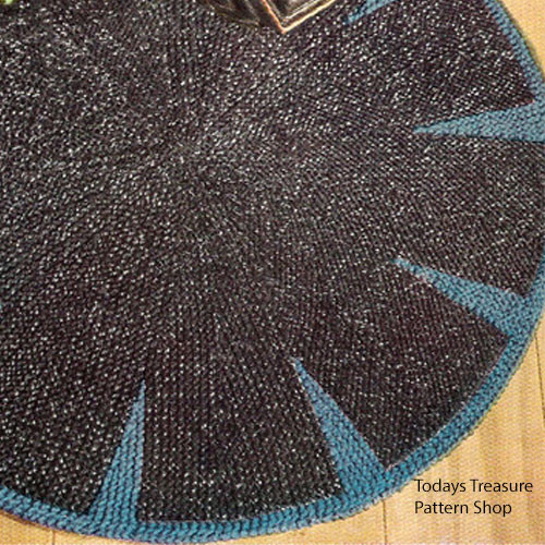 Round Rug Knitting Pattern in Two Colors