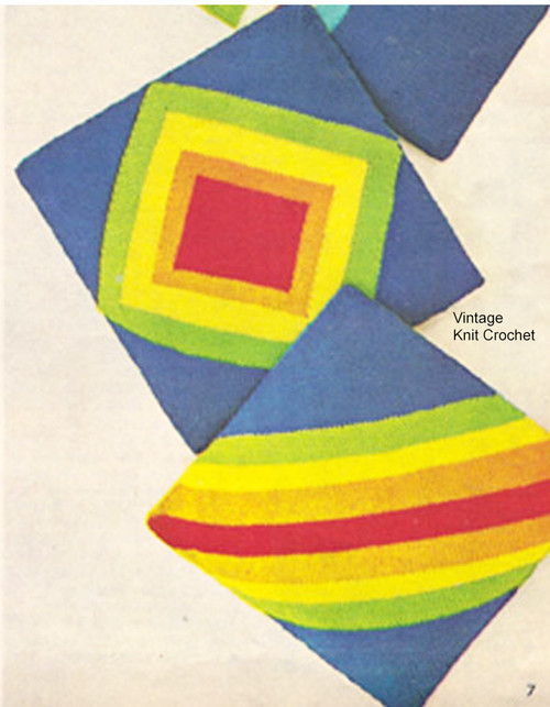 Vintage Knitted Pillows Pattern, geometric motif