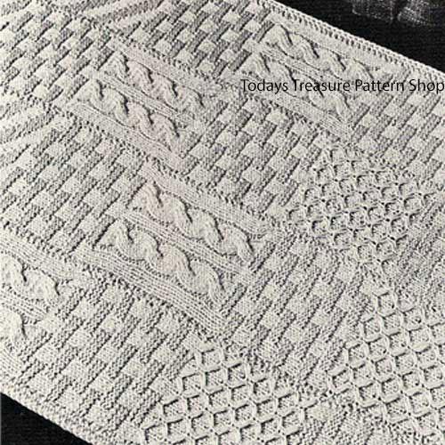 Vintage Stitch Sampler Rug Knitting Pattern