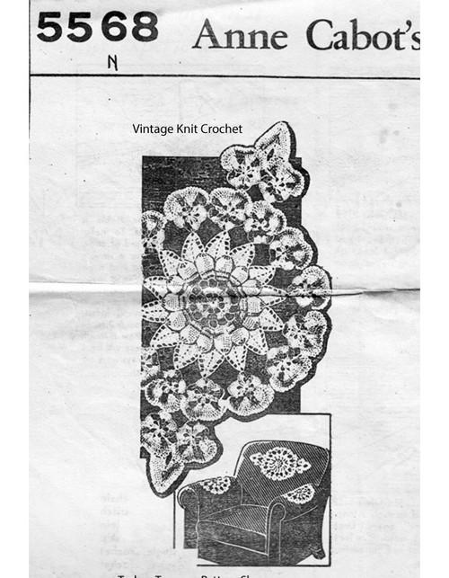 Crochet Pansy Doily Pattern, Chair Set No 5568