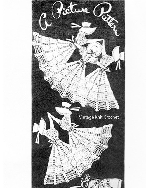 Mail Order Crochet Chair Set Pattern 1061, Dancing Girls