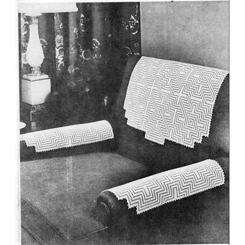 Crocheted Geometric Chair Set Pattern, Vintage 1950s