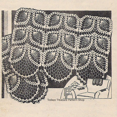 Vintage Crochet Pineapple Chair Set Pattern No 535