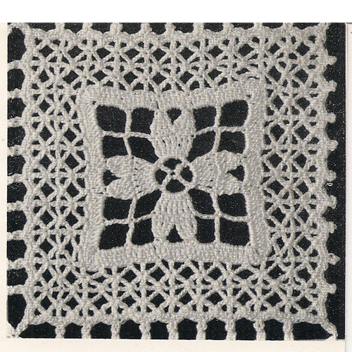 Illustration of crochet floral square pattern