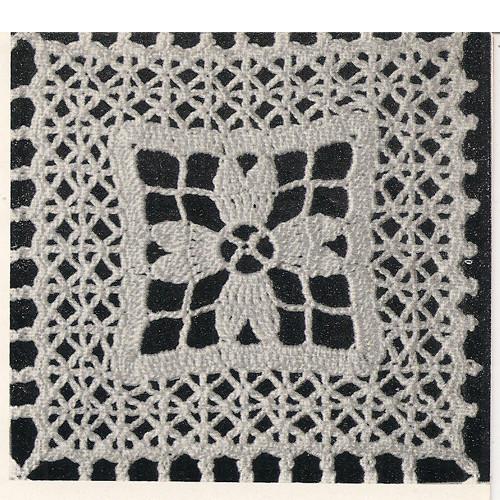 Illustration of crochet floral square pattern