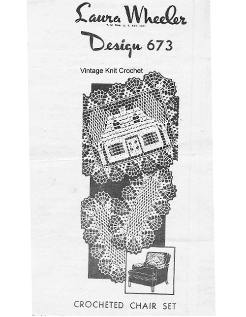 Crochet Home Chair Doily pattern, Mail order 674