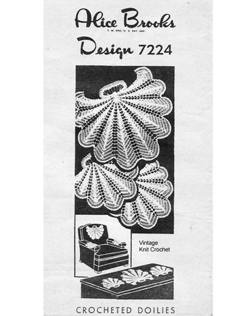 Crochet Shell Doily Pattern Design 7224 from Alice Brooks