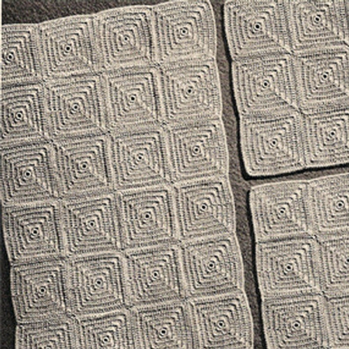 Crocheted Waffle Chair Mat Set Pattern, Vintage 1940s