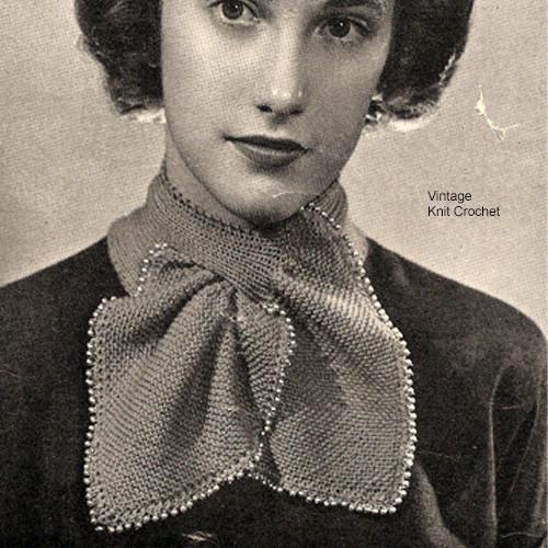 Vintage Beaded Ascot Collar Knitting Pattern