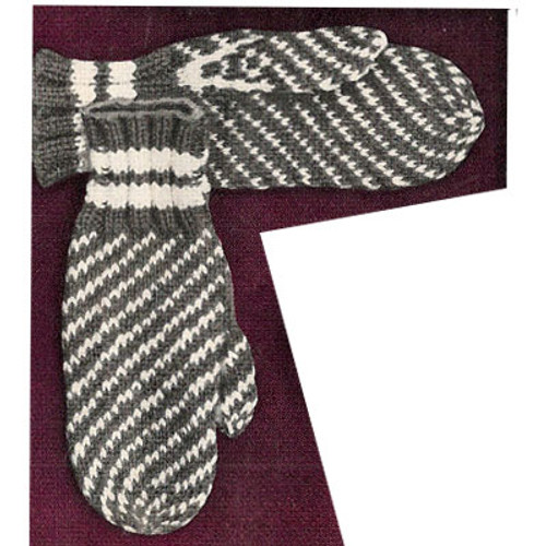 Misses Striped Mittens Knitting Pattern