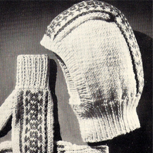 Knitted Fair Isle Helmet and Mittens Pattern