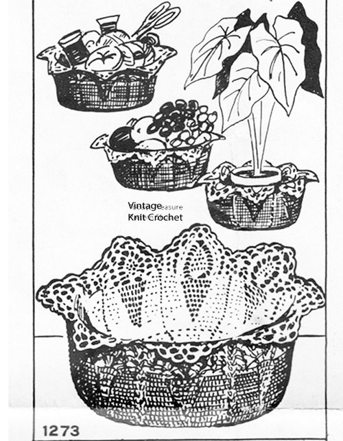 Vintage Crochet Basket Pattern, Martha Madison 1273