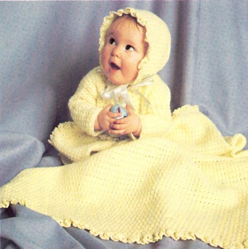 Yellow Baby Crochet Layette Pattern