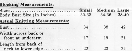 Shell Knitting Requirements for Mail Order 5123