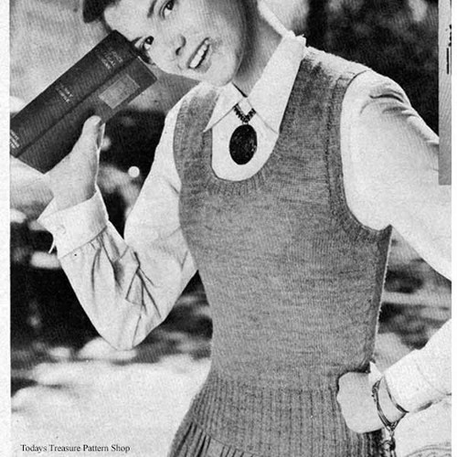 Knitted U-Neckline Shell pattern, Vintage 1950s