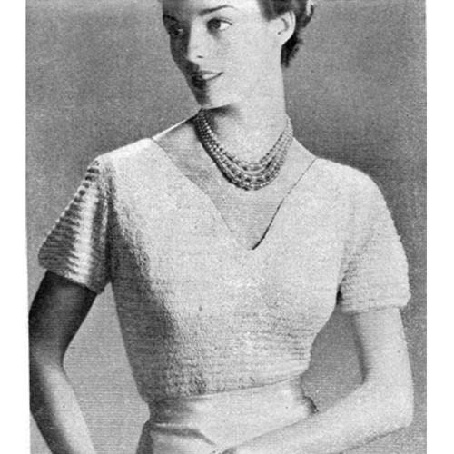 Knitting Pattern V-Neck Evening Blouse pattern