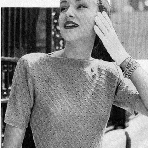 Vintage Knit Short Sleeve Blouse Pattern