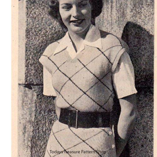 Knitting Pattern for Diamond Motif Tunic