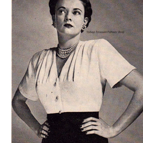 Knitted Tucked Blouse Pattern, Vintage 1950s